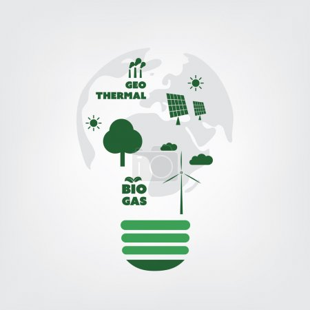 Think Green - Eco Friendly Ideas in a Light Bulb Symbol - Background Concept Design