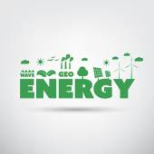 Energy Label with Green Eco Icons