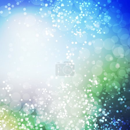 Sparkling Cover Design Template with Abstract, Blurred Background - Colors: Blue And Green