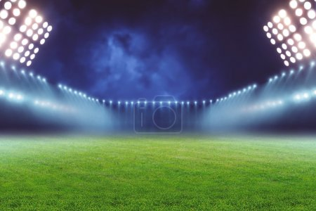 emty illuminated football ground