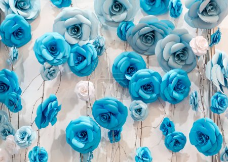 Many artificial decoratory roses