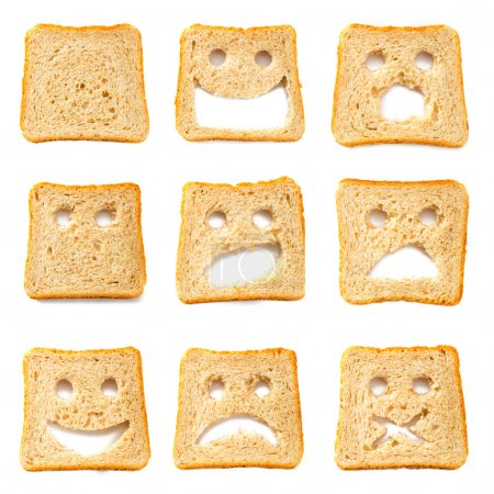 Photo for Toasted bread slices for breakfast with funny faces - Royalty Free Image