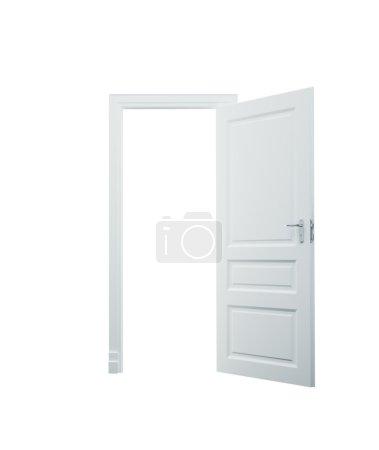 Photo pour 3D porte ouverte blanche sur fond blanc - image libre de droit