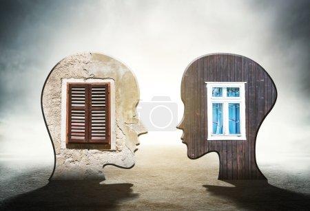 heads with windows inside