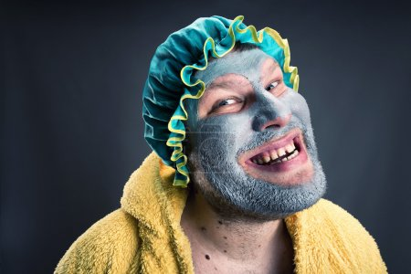 Photo for Crazy man with face pack. Closeup view - Royalty Free Image