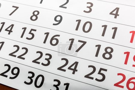 Closeup of calendar
