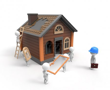 Photo for 3D little people building house - Royalty Free Image