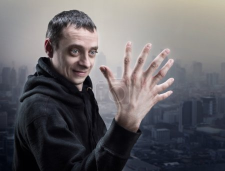 man with seven fingers on palm