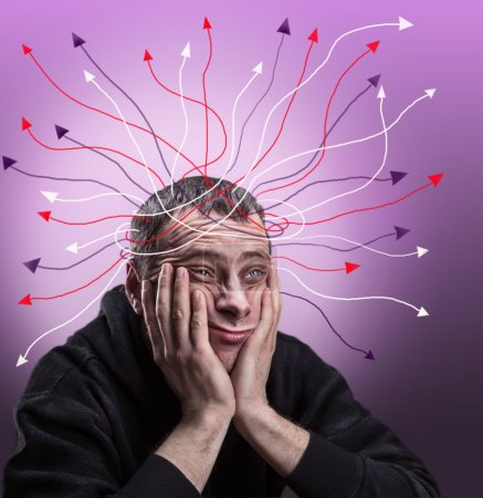 Photo for Depressed man with palms on his cheeks is thinking - Royalty Free Image