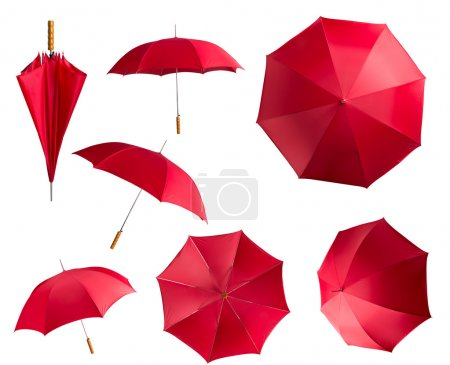 Photo for Red umbrellas set isolated on white background - Royalty Free Image