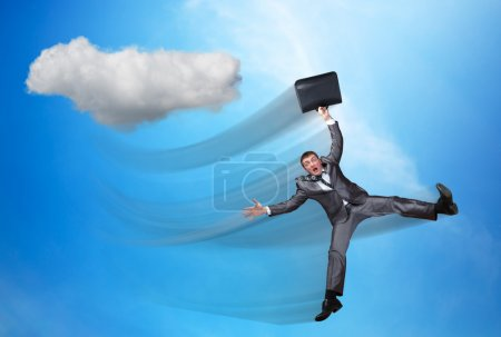 Businessman is falling from sky