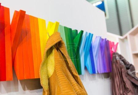 Multicolored wooden hangers