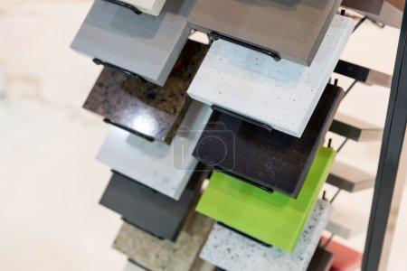 Ceramic tiles on the shelf