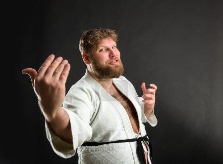 Bearded karate fighter