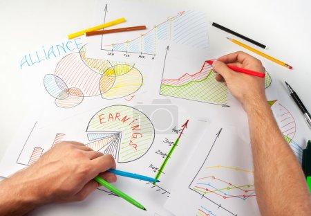 Man painting business diagram