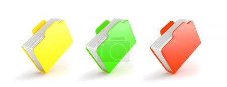 Set of multicolored folders