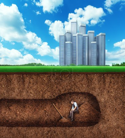 Businessman has  rest while digging tunnel
