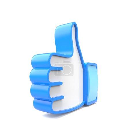 Photo pour Pouce 3D bleu vers le haut isolé sur fond blanc - image libre de droit