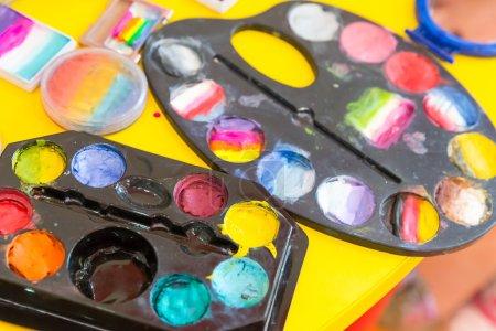colorful watercolor paints