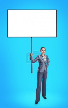 Businesswoman with blank banner