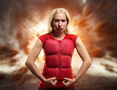 Strong woman superhero