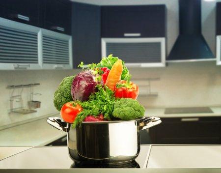 fresh vegetables in pot