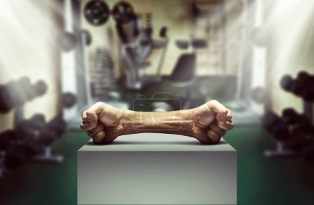 Human fists as dumbbell