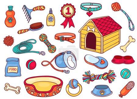 Illustration pour Ensemble d'accessoires pour chiens. Isolé sur blanc. Illustration vectorielle de dessin animé . - image libre de droit