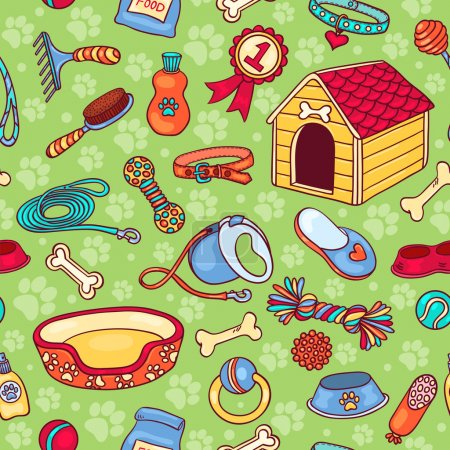 Seamless pattern with accessories for dogs