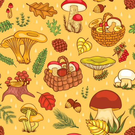 Illustration for Seamless pattern with mushrooms. Vector cartoon backgroung. - Royalty Free Image