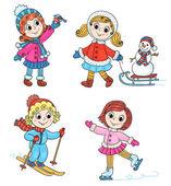 Happy winter girls