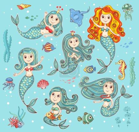 Cute vector set with mermaids