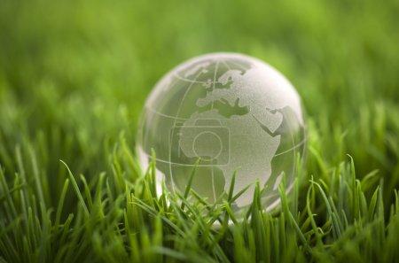Photo pour Globe de cristal sur herbe verte. Concept environnemental mondial . - image libre de droit
