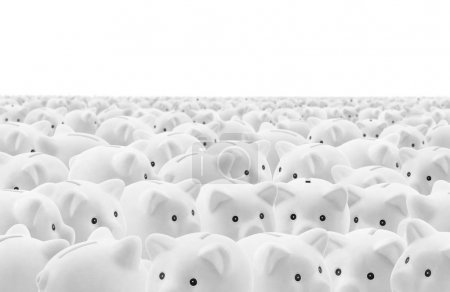 Large group of white piggy banks