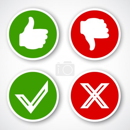 Illustration for Yes, No, Thumbs up and down icons Like and unlike symbol. Vector - Royalty Free Image