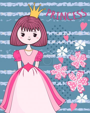 Cute princess on the flower background.