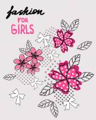Flower and bow T-shirt design Fashion for girls