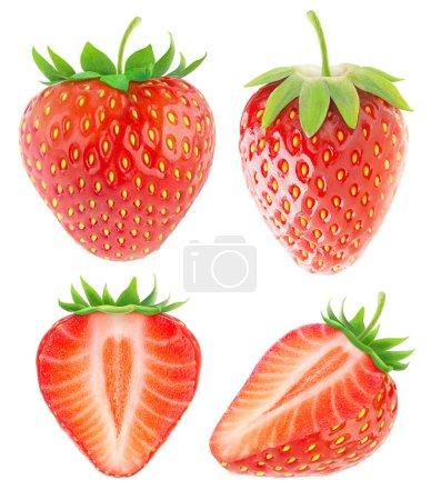 Foto de Colección fresa aislado en blanco con trazado de recorte - Imagen libre de derechos