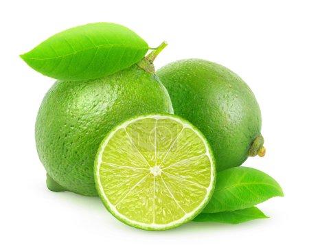 Photo pour Limes fraîches isolées sur blanc - image libre de droit