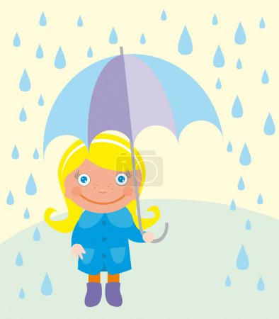 Illustration for Cute girl with umbrella and raindrops over landscape. vector - Royalty Free Image