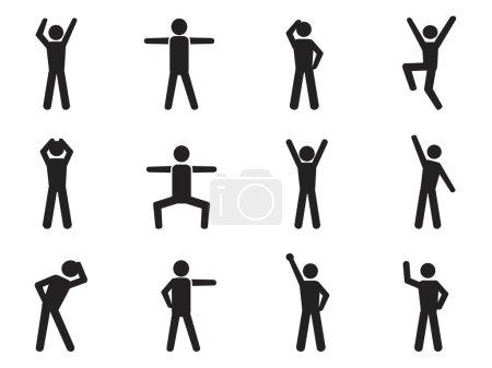 Illustration pour Stick silhouette icônes de posture isolé sur blanc - image libre de droit