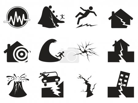 Black earthquake icons set. Vector illustration...