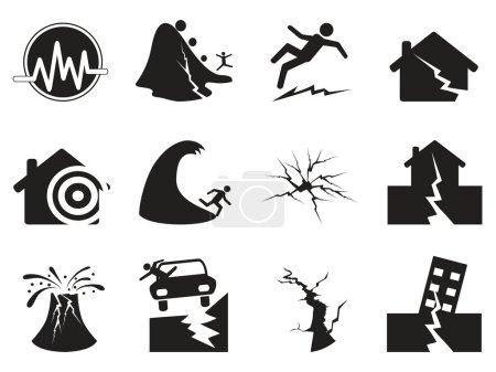 Illustration for Black earthquake icons set. Vector illustration - Royalty Free Image