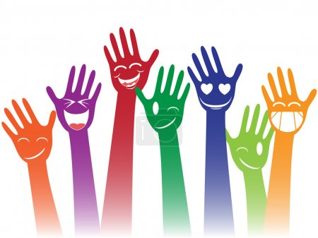 Illustration for Happy colorful smile hands against white background - Royalty Free Image