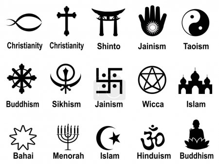 Foto de Negro símbolos religiosos iconos conjunto - Imagen libre de derechos