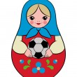 Russian nesting doll holding a soccer ball in her hands. Vector illustration for a sporty design, symbolizing the 2018 World Cup in Russia.