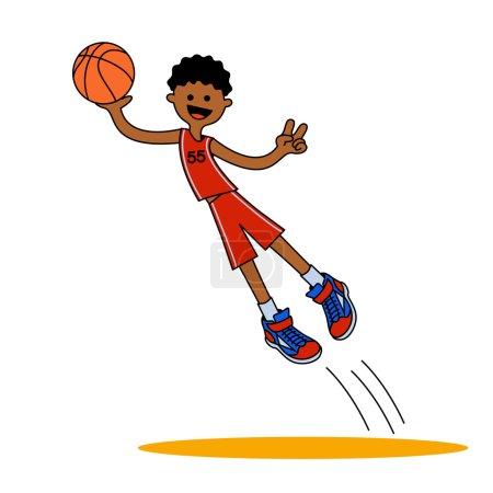 Illustration pour Le garçon afro-américain a sauté avec une balle. Illustration vectorielle isolée sur fond blanc pour le design sportif . - image libre de droit