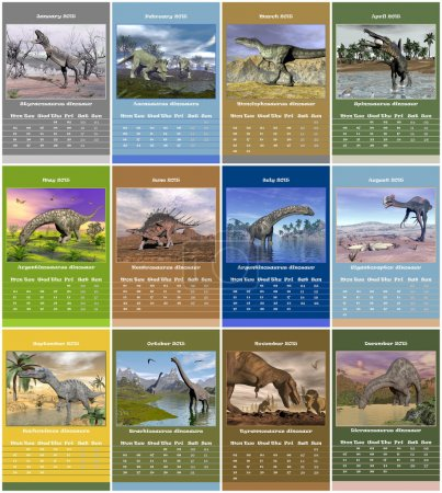 European 2015 year calendar with dinosaurs