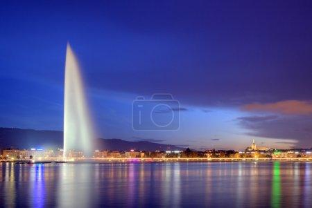 Photo pour Célèbre fontaine et au bord du lac, Hdr, Genève, Suisse, 12 octobre 2014 - image libre de droit
