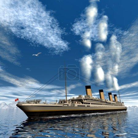 Famous Titanic ship floating among icebergs on the...